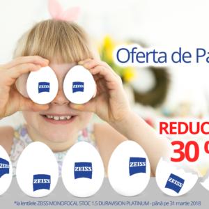 Oferta de Paște – Reducere 30% la Zeiss Monofocal DuraVision Platinum